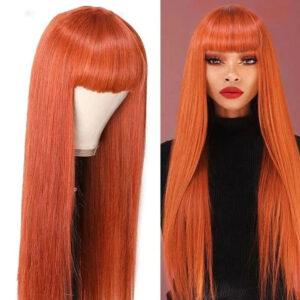 Bob Wig With Bang Colored Human Hair