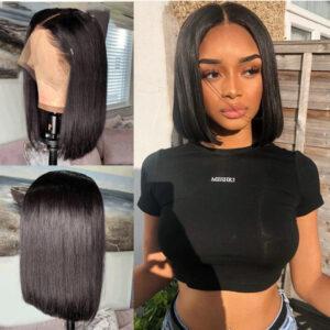 Short Lace Front Human Hair Wigs Bob
