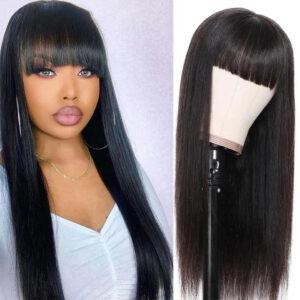 Straight Human Hair Wig With Bangs